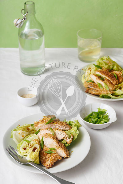 Sesame chicken salad with lettuce wedges
